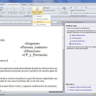 Combinar correspondencia en Excel