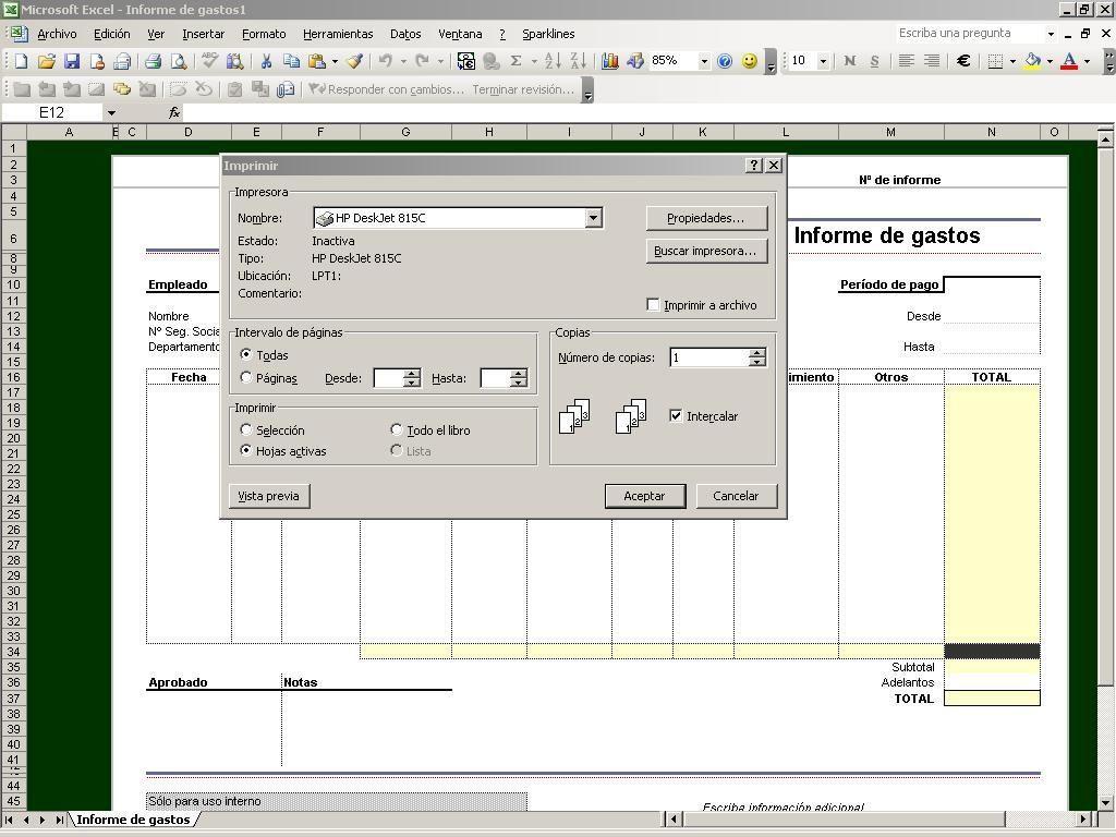 Vista preliminar de Excel