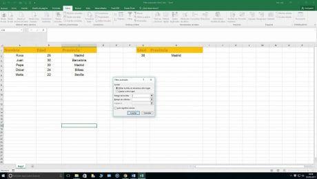 Filtro avanzado en Excel