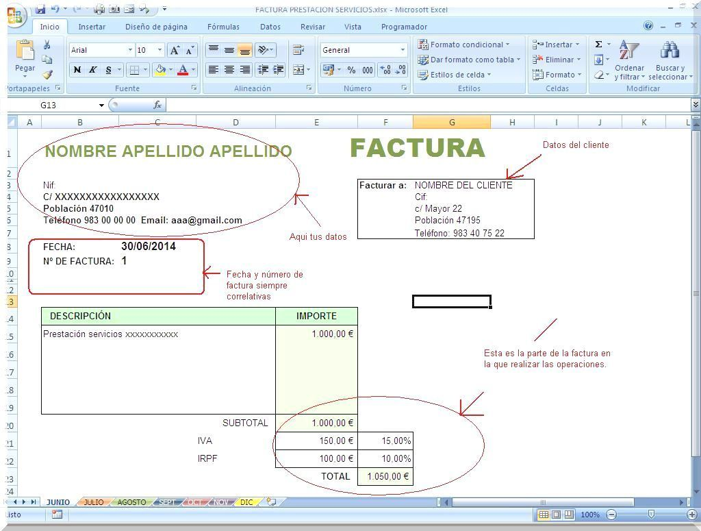 Libro facturas emitidas actividad empresas y profesionales