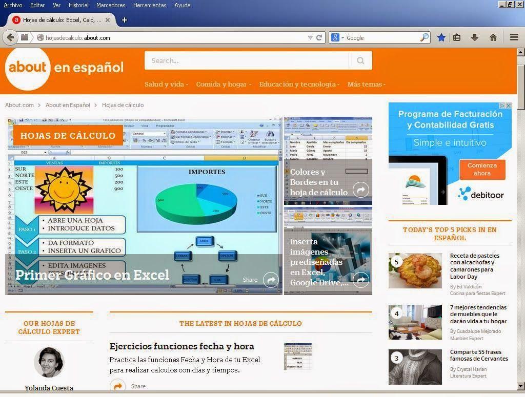 Hojas de calculo en About.com