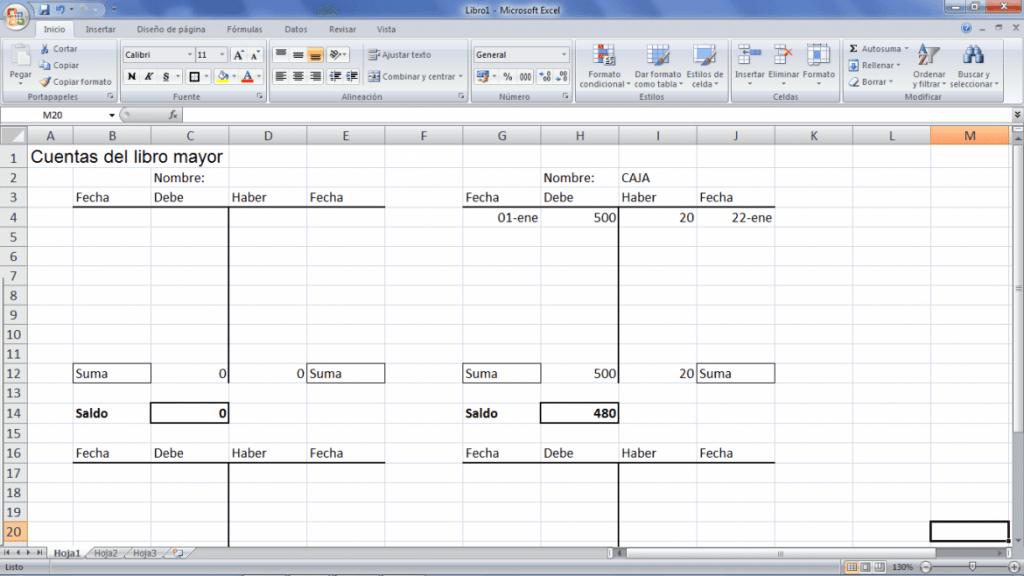 Libro mayor contabilidad Plantilla Excel