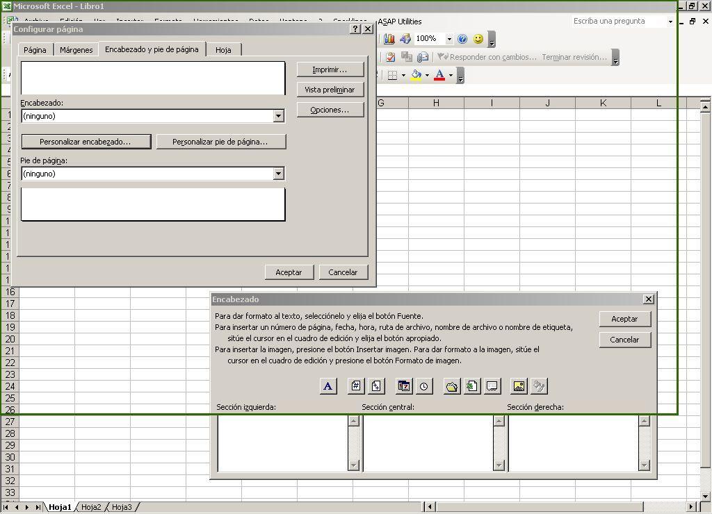 Insertar encabezados en Excel