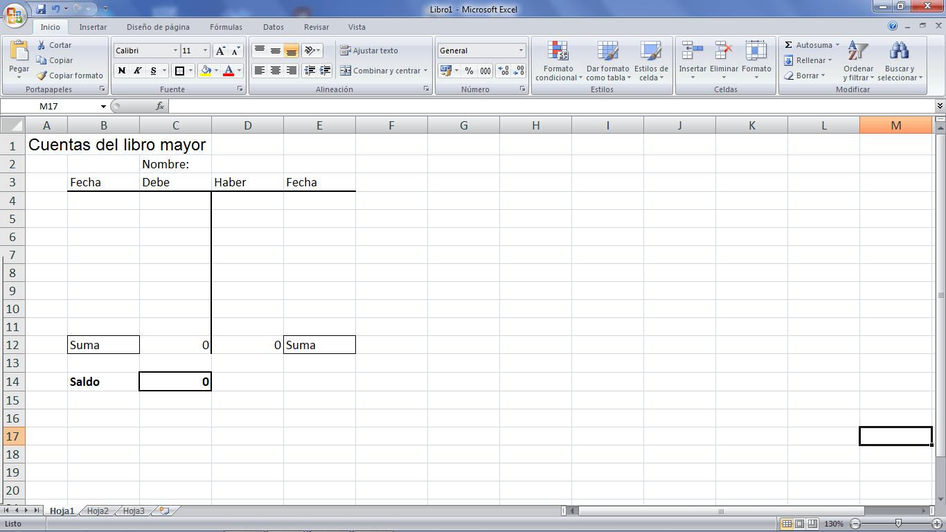 Libro mayor contabilidad