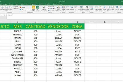 Excel tabla con datos