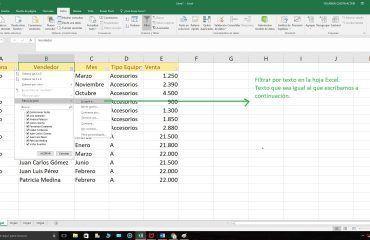 Excel filtro por texto