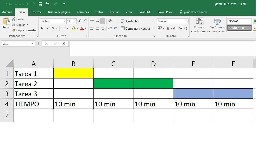 Diagarama de Gantt en Excel