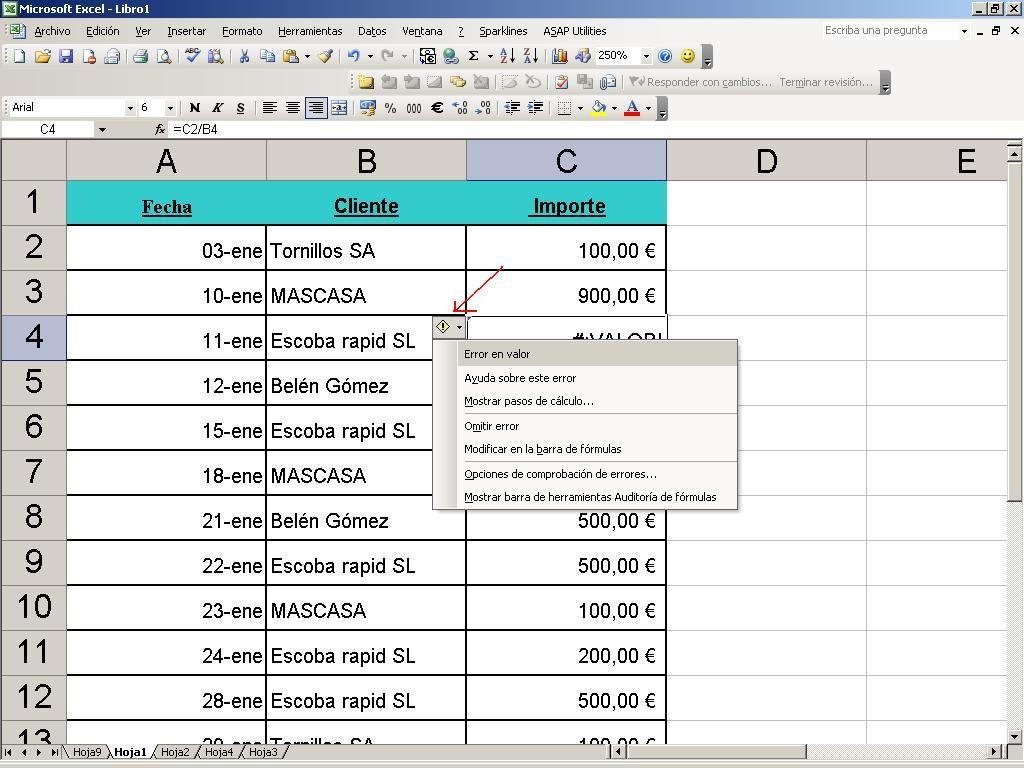 Valores de error en Excel