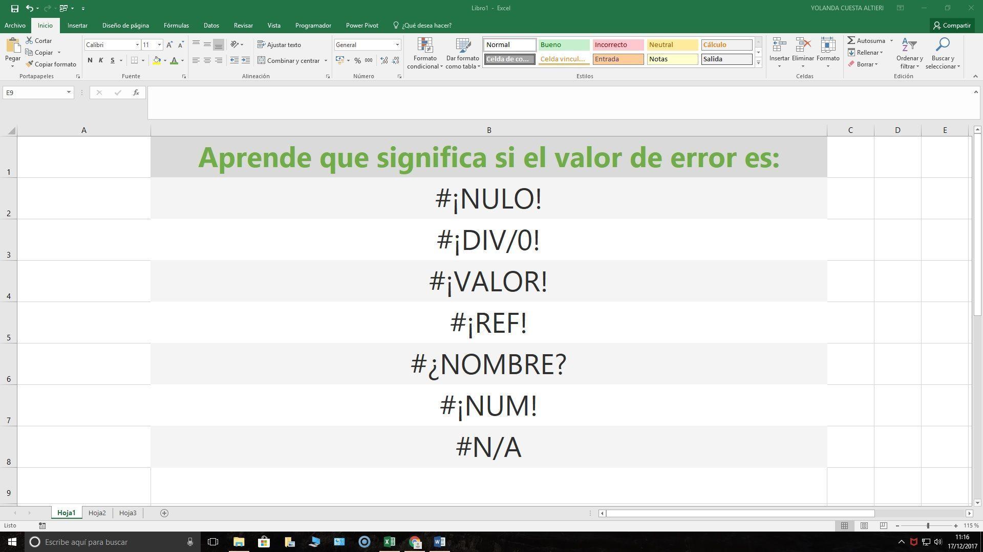 Glosario errores en Excel