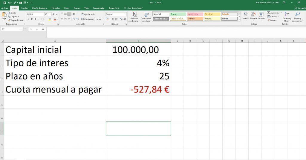 Funcion PAGO en Excel