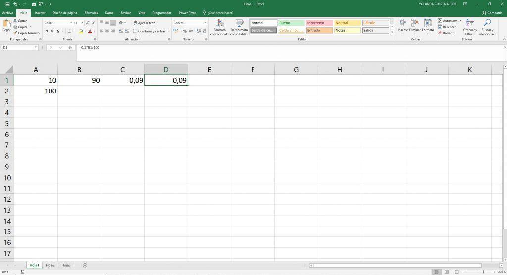porcentajes en Excel