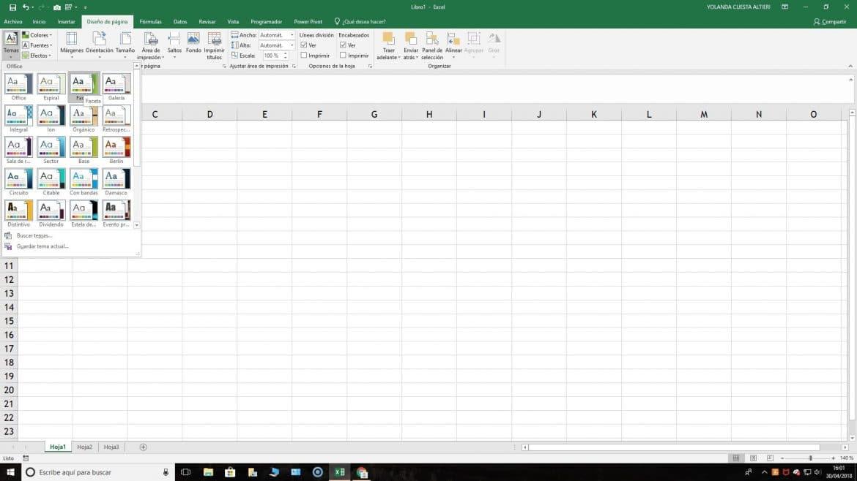 Tema en Excel
