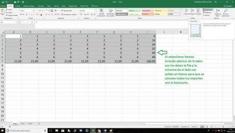 Autosuma filas y columnas Excel