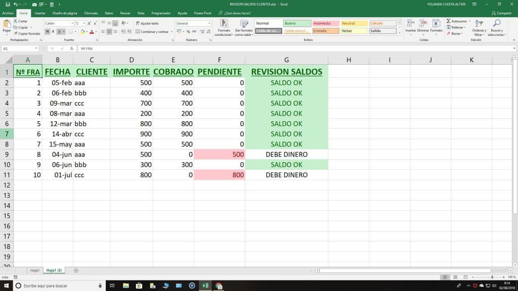 Excel pagos facturas
