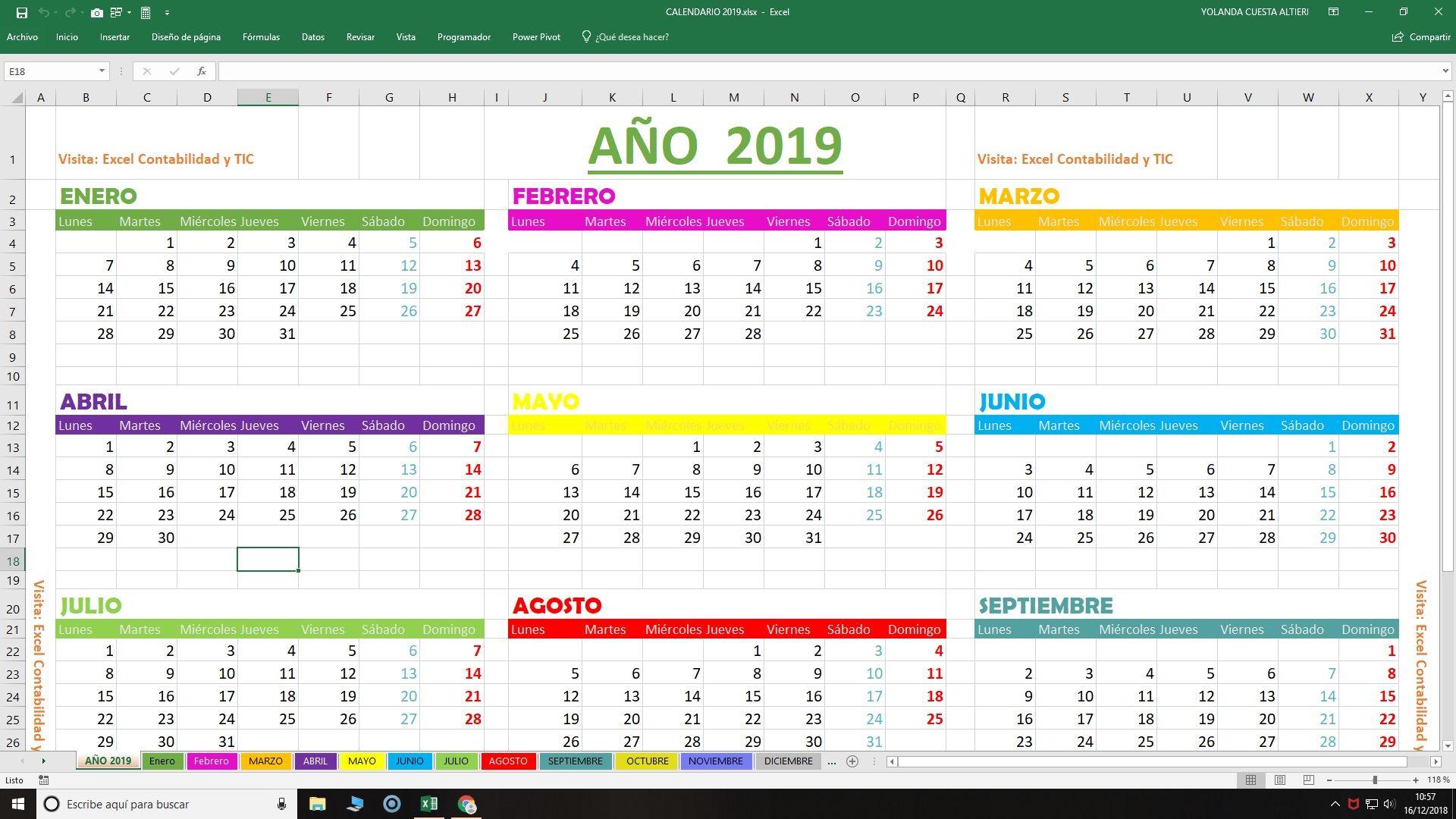 Calendario 2019.Calendario 2019 En Excel Gratis Listo Para Imprimir
