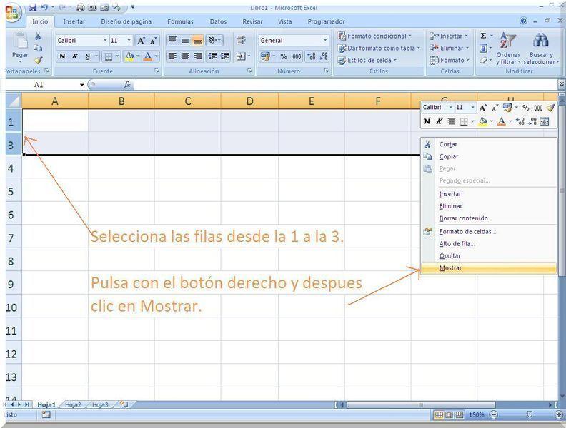 Mostrar filas en Excel
