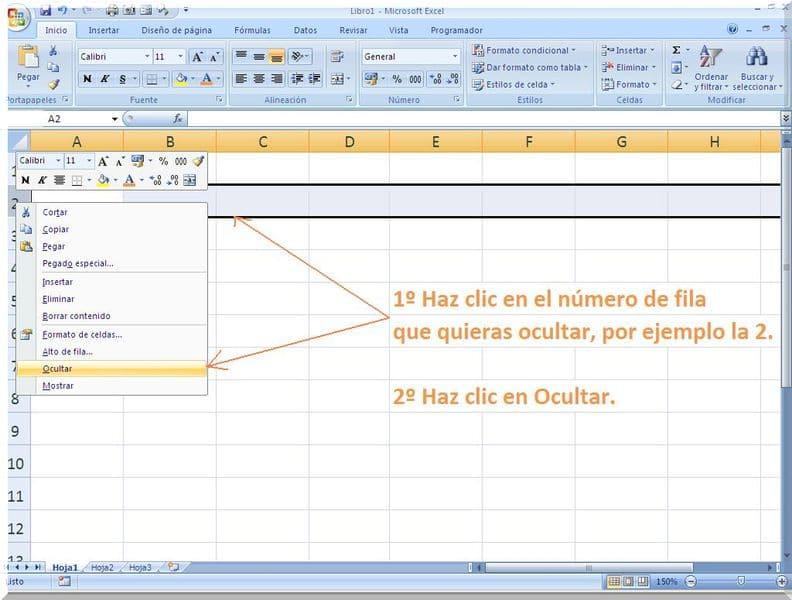 ocultar filas en Excel