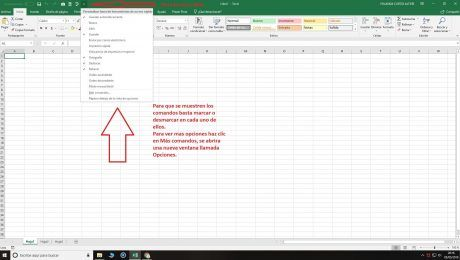 Excel barra herramientas