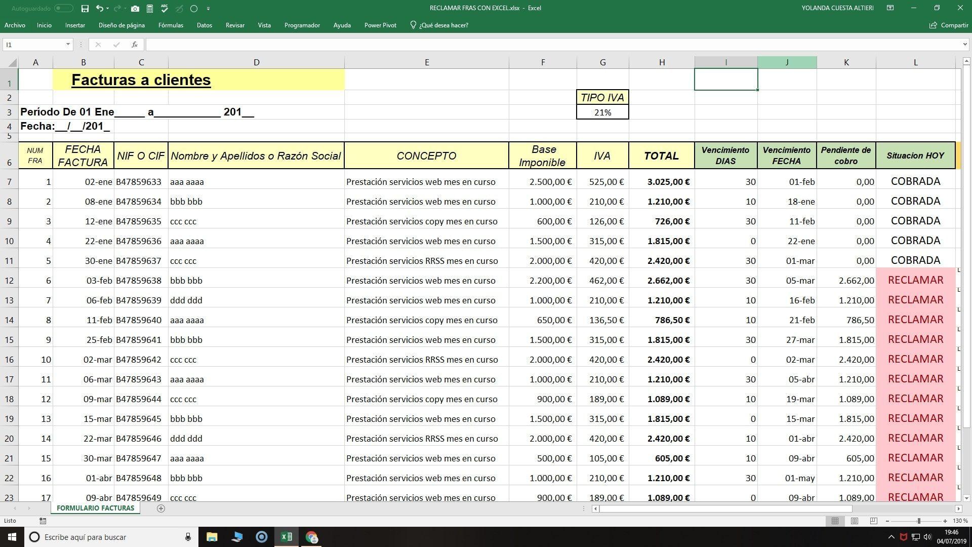 Control en Excel vencimiento facturas