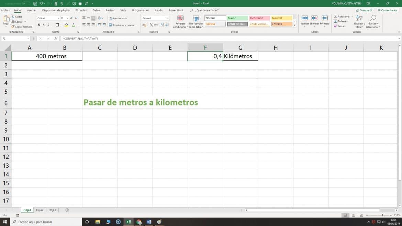 de metros a kilómetros en Excel