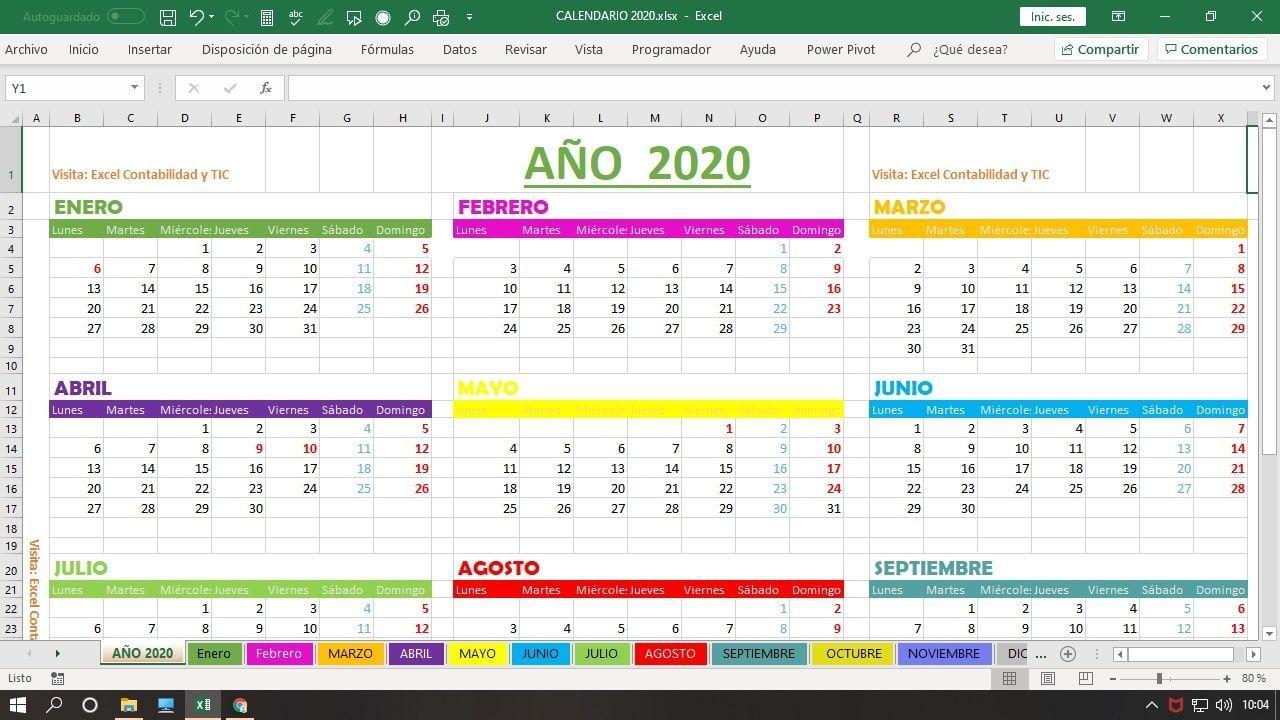 Calendario año 2020