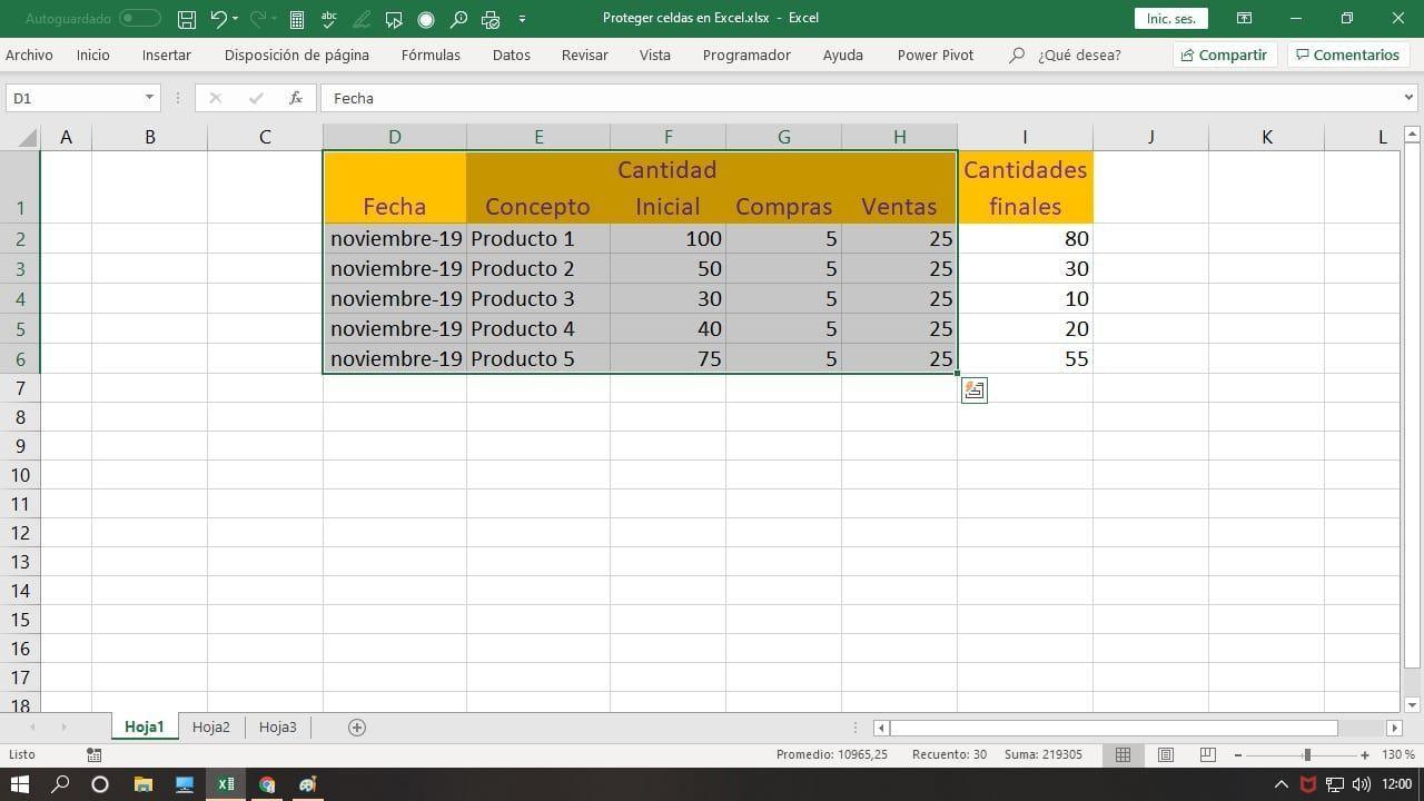Proteger fórmulas en Excel